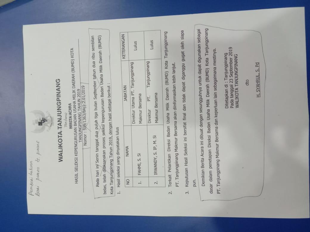 Beredar Hasil Seleksi Direktur BUMD Tanjungpinang