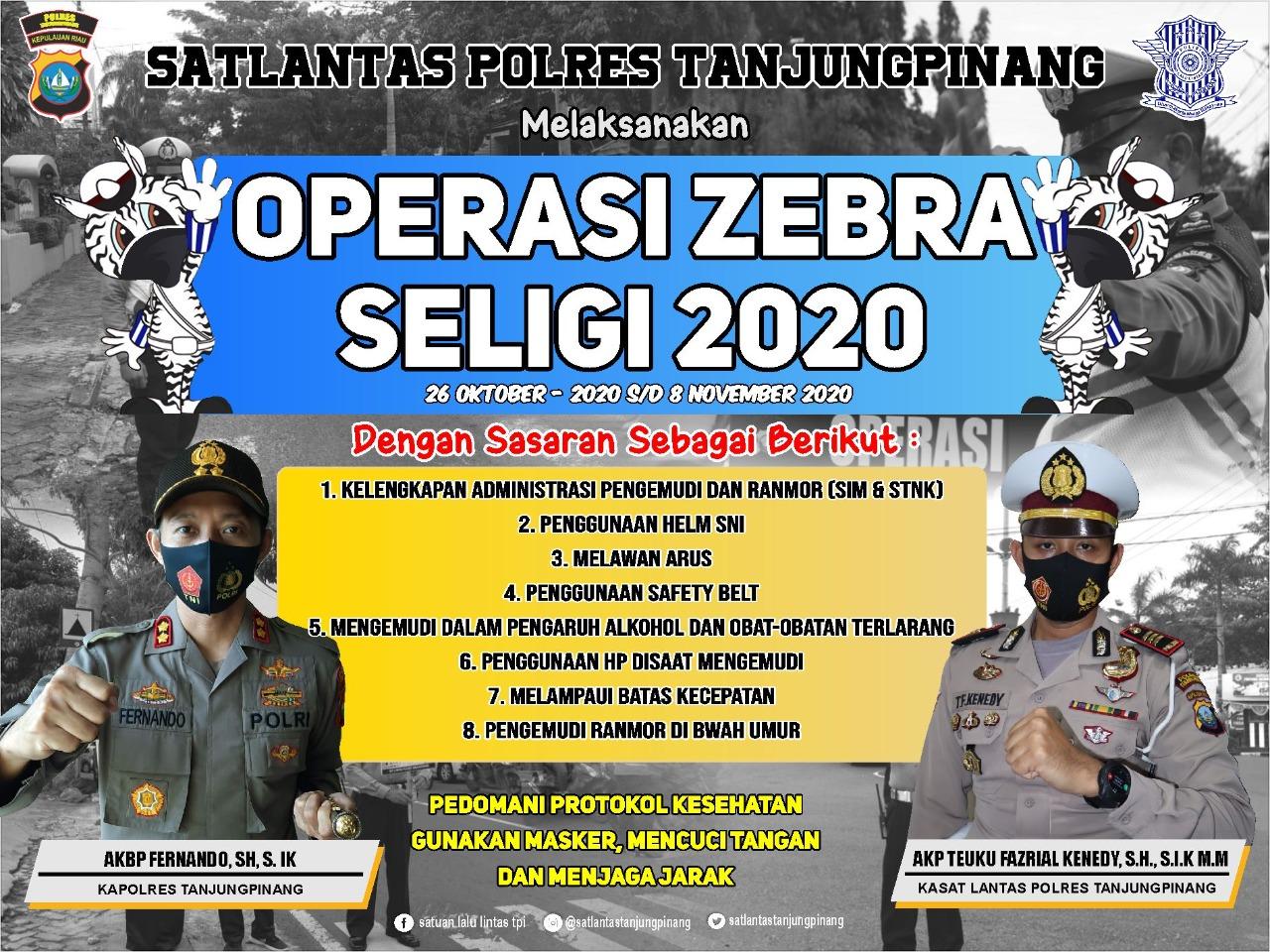 Satlantas Polres Tanjungpinang Gelar Operasi Zebra Seligi 2020 Selama Dua Minggu