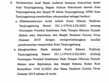 Perpat Minta Walikota Tindak Lanjuti Rekomendasi DPRD Tanjungpinang