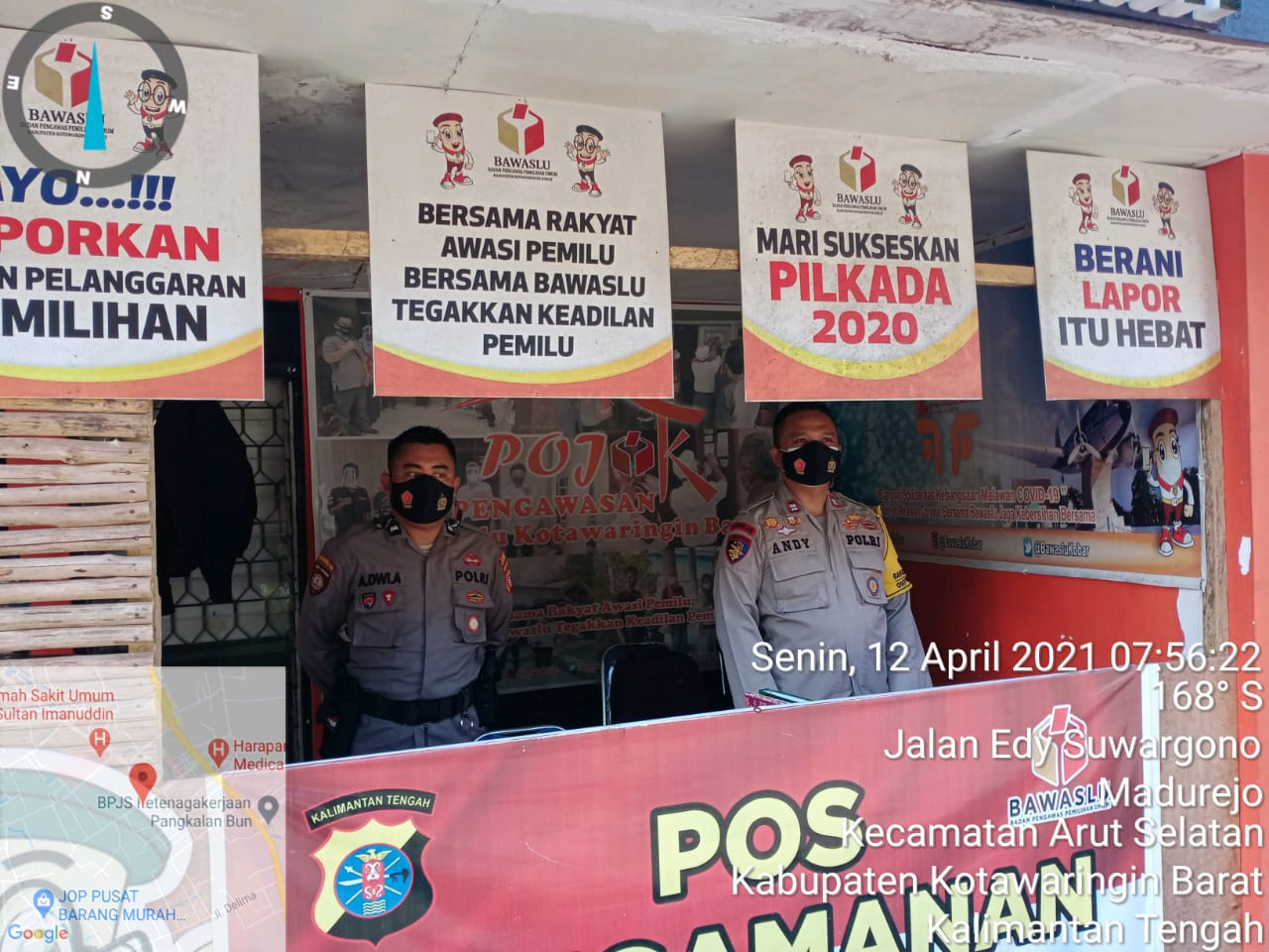 Anggota Satbinmas Yang Melaksanakan Pengamanan di Pospam Kantor Bawaslu