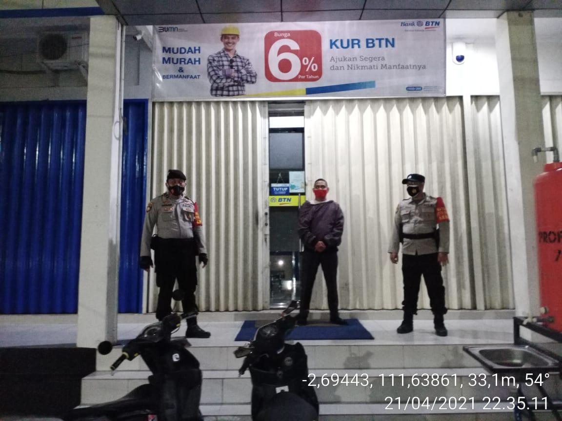 Polsek Arsel Rutin Patroli Ke Objek Vital Bank BTN Jl. Iskandar