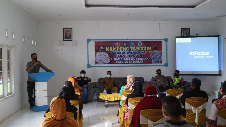 Kapolres Bintan Bentuk dan Resmikan Kampung Tangguh Bersih Narkoba DI 2 desa di Kecamatan Teluk Bintan