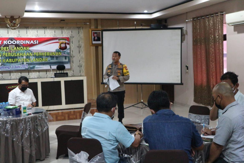 Antisipasi Karhutla Polres Landak koordinasi dengan pihak perusahaan perkebunan