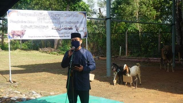 SAMBUT IDUL ADHA, PANGKALAN UDARA TNI AL TANJUNGPINANG KURBAN 2 EKOR SAPI DAN 5 KAMBING.