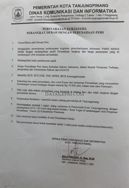 Diduga Ada Media Tidak Terverifikasi Nikmati Dana Publikasi Diskominfo Tanjungpinang